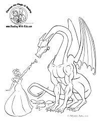 princess u0026 dragon colouring picture