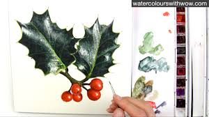 create your own christmas card how to paint realistic leaves for your christmas card in