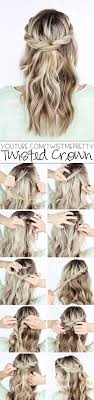 layer hair with ponytail at crown half up half down hair twisted crown twist half ponytail braid