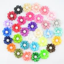 flower decoration for hair novelty diy 100pieces lot 4 5cm supports mixed colors 32colors