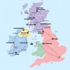 map uk ireland scotland great britain ireland tour europe contiki