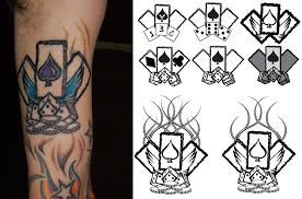 ace card and flaming dice tattoos