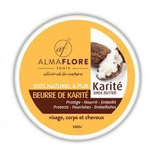 beurre de cuisine cheveux almaflore beurre de karité brut bio 100 g parapharmacie tunisienne