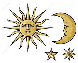 sun crescent moon and royalty free cliparts vectors and