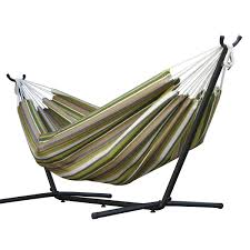 vivere double sunbrella hammock with 9ft stand combo in limelight