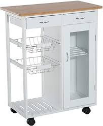 kitchen storage cabinet cart homcom 28 rolling kitchen trolley serving cart storage cabinet bamboo top with wire basket glass door drawers white