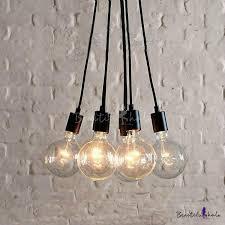 Vintage Light Bulb Pendant Simple Designer Edison Bulb Black Led Multi Light Pendant