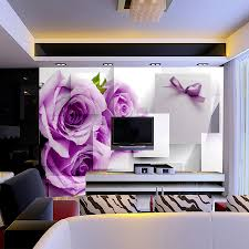 shinehome purple rose floral brick wallpapers rolls 3d photo