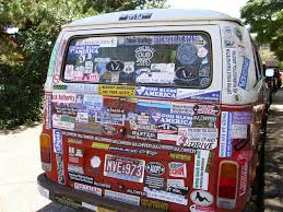 volkswagen van hippie rear view of old vw van covered in hippie u0026 political sti u2026 flickr