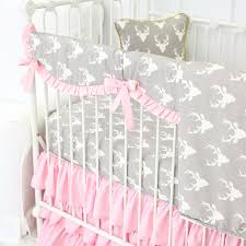 Deer Nursery Bedding Whitney U0027s Woodlands Deer Bumperless Crib Bedding Caden Lane