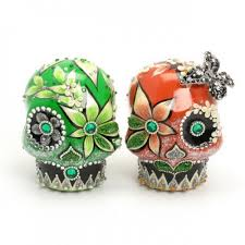 sugar skull cake topper skull wedding cake toppers coral and green sugar skulls ceramic