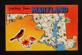 Annapolis Zip Code Map by 1960s Maryland State Map Icons Landmarks Md Postcard