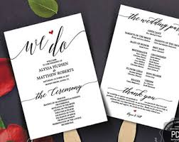 program fans for wedding ceremony wedding program fan etsy