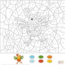birds color by number coloring pages free printable pictures