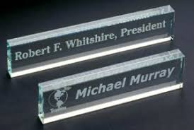 etched glass desk name plates desk accessories nameplates pacific etched glass crystal