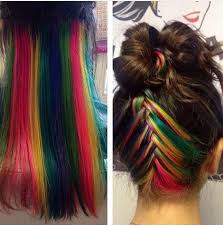 rainbow color hair ideas hidden rainbow hair is the perfect trend for low key rebels