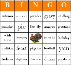 thanksgiving bingo card sle educational ideas