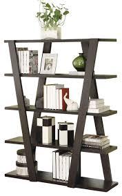 Bookcase Shelf Support Modern Cappuccino Storage Bookcase Bookshelf With Inverted Support