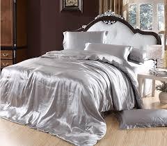 solid white comforter set elegant bedding solid color silk smooth bedding set silver