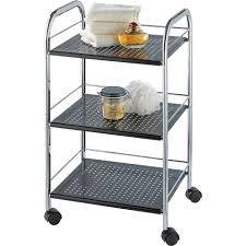rollregal küche wenko rollwagen ovalo schwarz mit 3 ablagen küchenregal badregal