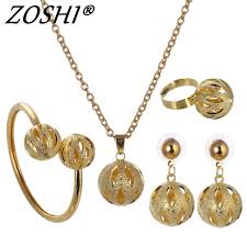 pendant necklace set images Dubai gold silver plated ball jewelry set pendant necklace cuff jpg