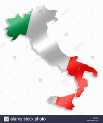 Italian Map Italy Italian Country Map Outline With National Flag Inside Stock