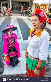 Mexican Woman Halloween Costume Miami Beach Florida Lincoln Road Pedestrian Mall Halloween Costume