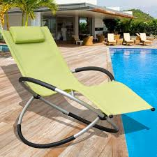 Outdoor Lounge Chair Zero Gravity Folding Rocking Patio Lounge Chair With Pillow