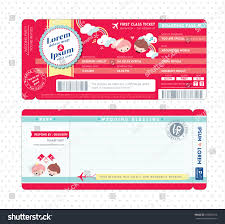 cute boarding pass ticket wedding invitation stock vector