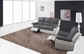 canapé relax 3 2 canapé 3 places 2 relax manuel berlin luba gris foncé pu blanc