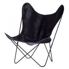 aa butterfly black cow skin armchair aa design