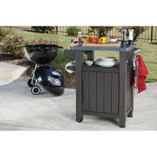 outdoor grill prep table keter unity indoor outdoor serving cart prep station with storage