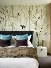 nature scene wallpaper mural bedroom contemporary with bed