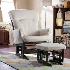 Rocker Cushions Furniture Chic Glider Rocker And Ottoman Plus White Cushions Seat