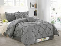 Bedroom Comfortable Bed With Smooth Bedroom Gray Pintuck Comforter With Gray Throw Pillows And Oak
