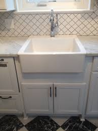 finished ikea farmhouse sink and brizo faucet kitchen