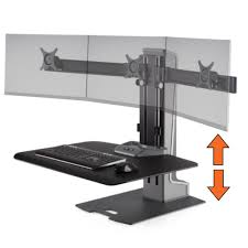 Stand Sit Desks by Winston E Electric Triple Monitor Mounts Sit Stand Desk Stand Steady