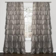 White Ruffle Curtain Panels Lush Decor Black 84 Inch Ruffle Curtain Panel