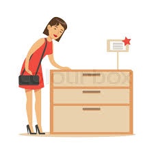 woman buying a wooden dresser smiling shopper in furniture shop