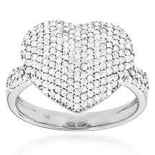heart fashion rings images Ladies pave diamond heart ring 1 carat 14k yellow rose white gold jpg