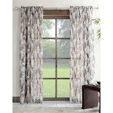 Allen Roth Curtain Shop Allen Roth Verlette 95 In L Light Filtering Floral Grey Rod