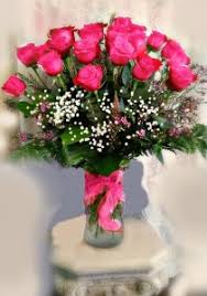 hot pink roses 24 stem hot pink roses in vase in fair lawn nj dietch s