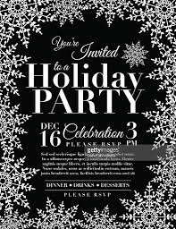 snowflake holiday party invitation template black vector art
