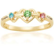 gold mothers rings keepsake personalized heart s birthstone ring