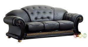 Ital Leather Sofa Versace Luxurious Button Tufted Black Italian Leather Sofa Ebay