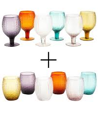 set bicchieri set bicchieri acqua e vino colorati karma villa d este 12 pezzi