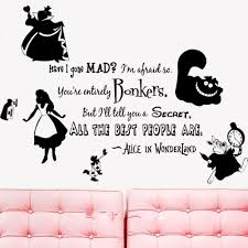 online buy wholesale wall stickers alice wonderland from china alice wonderland rabbit cat clock mad wall vinyl removable sticker decal home decor