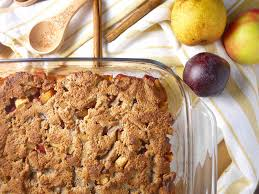 apple pear crumble plum pear and apple grain free crumble paleo gf perchance to cook