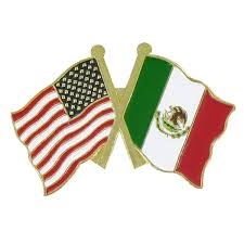 Mecican Flag Usa And Mexico Double Lapel Pin