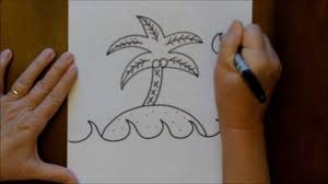how to draw an island with a palm tree step by step youtube